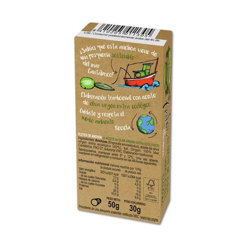 Anchoas en aceite de oliva virgen extra ecológico 50g