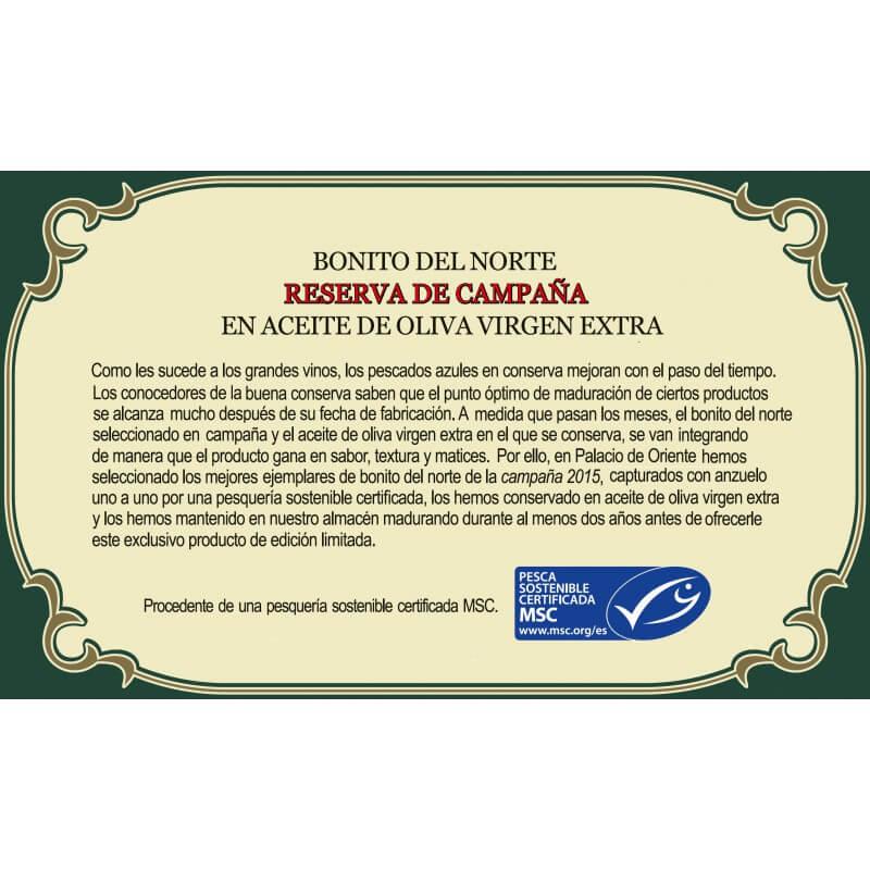Bonito del Norte MSC 'Reserva de Campaña' en Aceite de Oliva Virgen Extra 115g