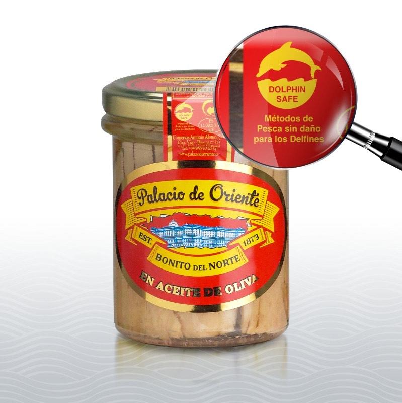Bonito del norte en aceite de oliva de Palacio de Oriente con el logo Dolphin Safe en el envase